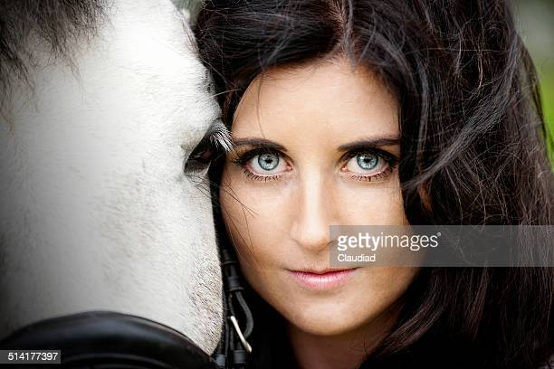 Beautiful woman and her horse