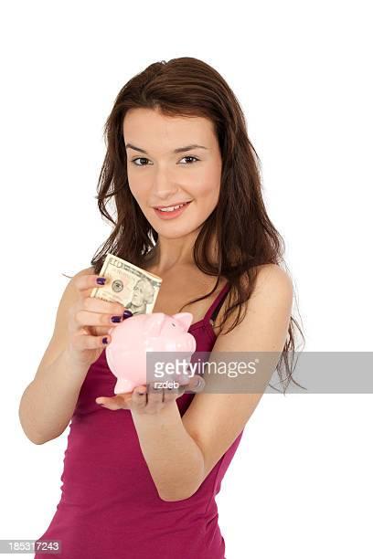 Mujer bella y dinero cerdo