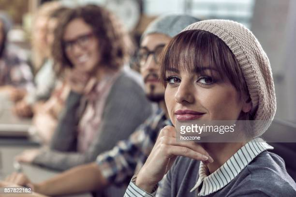 Beautiful woman at meeting in office