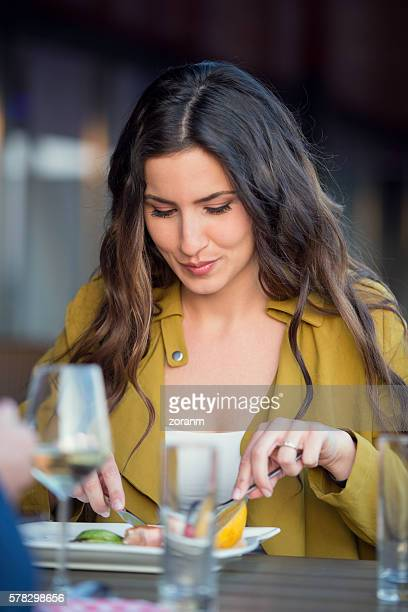 Beautiful woman at outdoor restaurant