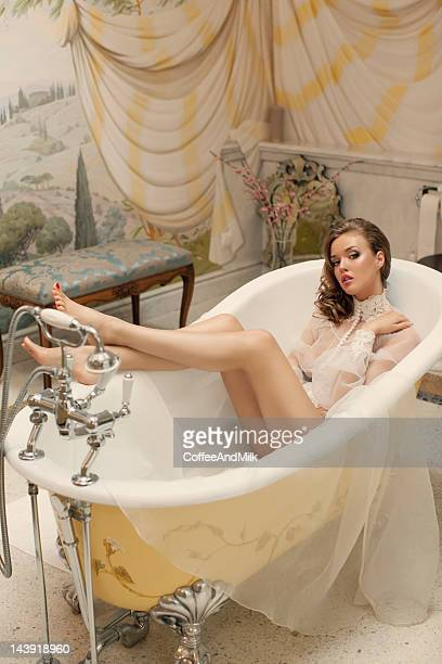Beautiful woman at the luxury bathroom