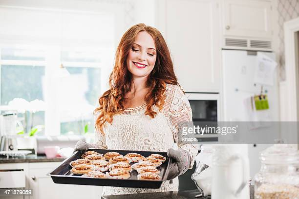 Beautiful woman baking
