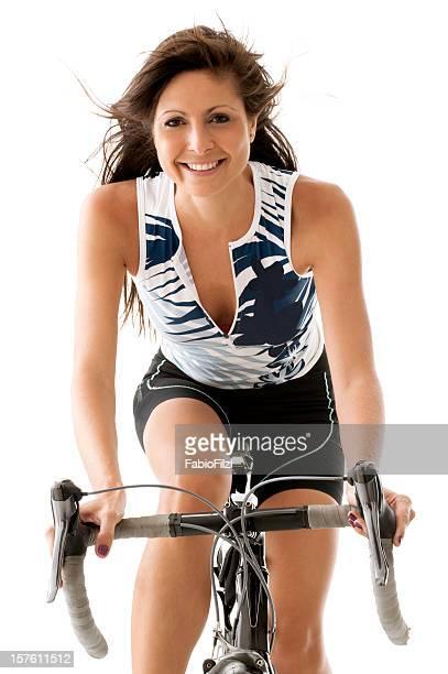 beautiful woman bicycling - fabio filzi stock photos and pictures