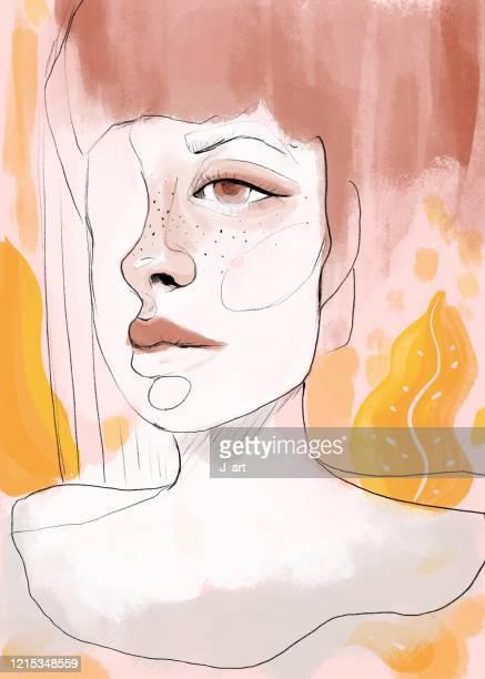 beautiful woman digitally painted half face portrait. - junge frau rätsel stock-fotos und bilder