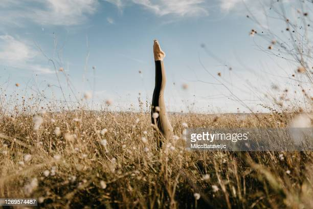 beautiful woman doing yoga in the nature - harmony stock pictures, royalty-free photos & images
