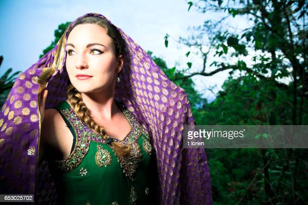 Beautiful Woman dressed in elegant Sari