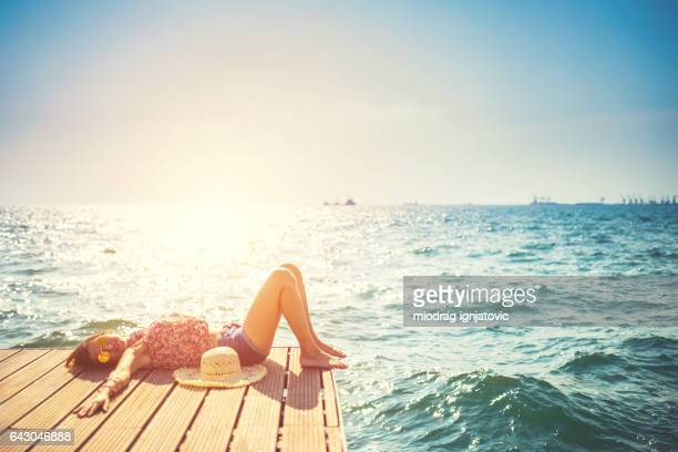 beautiful woman enjoying in thessaloniki,by the sea - greece stock photos and pictures