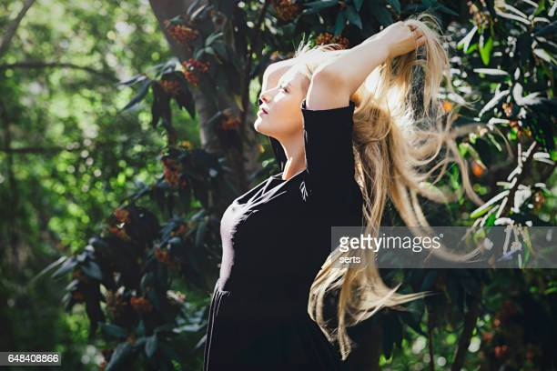 Beautiful woman enjoying sun