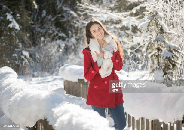 Beautiful woman enjoying this wonderful winter day