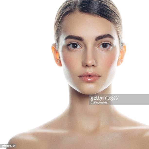 beautiful woman face portrait - neck stock pictures, royalty-free photos & images