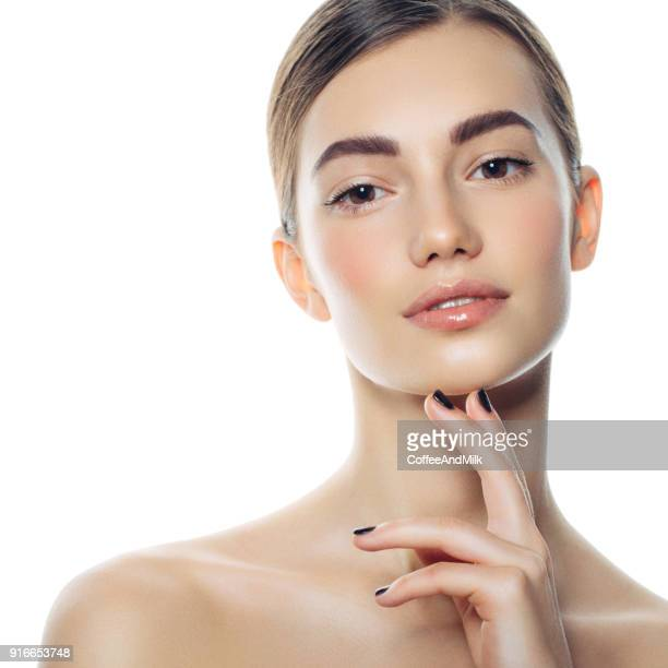 beautiful woman face portrait - light brown eyes stock photos and pictures