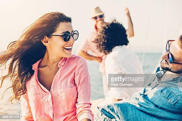 Beautiful woman flirting on a yacht