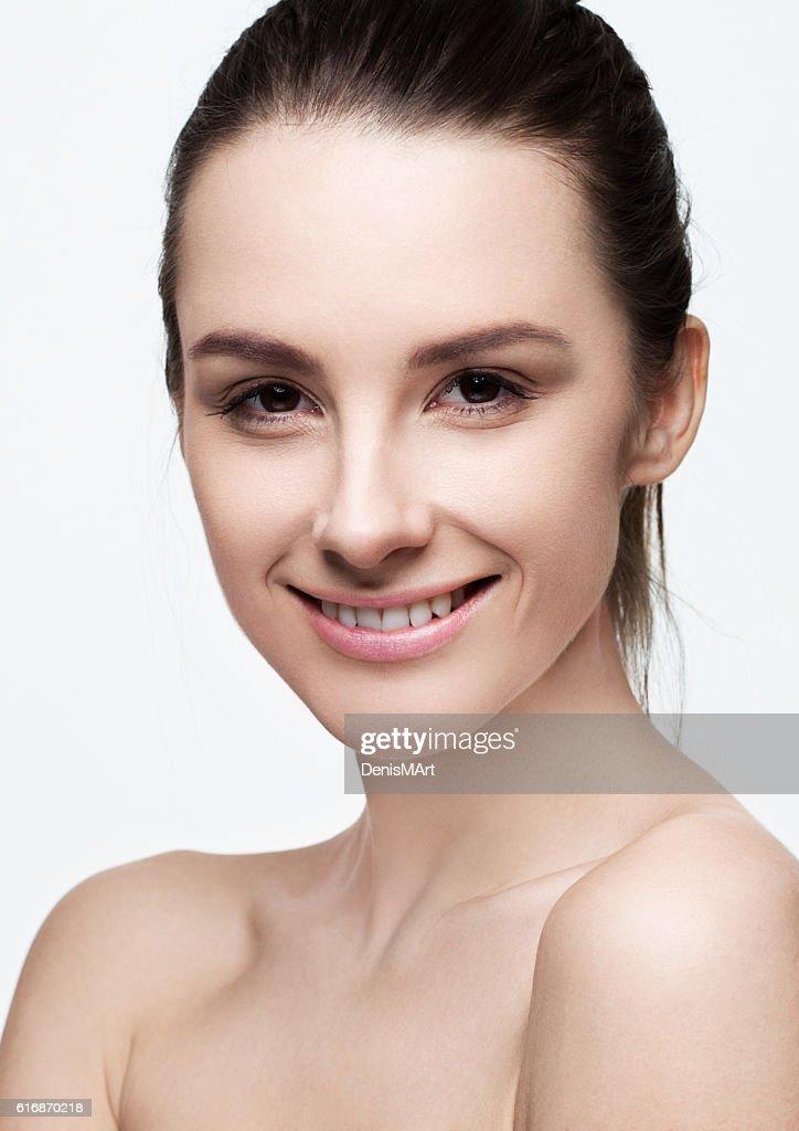 Beautiful woman girl with natural healthy makeup : Stock Photo