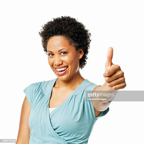 Beautiful Woman Giving a Thumbs Up - Isolated