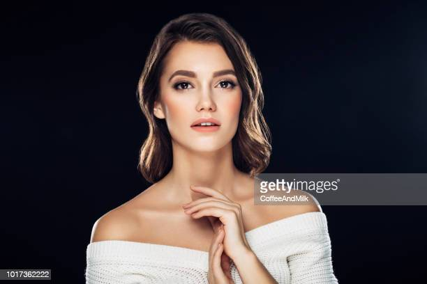 beautiful woman, glamour portrait on dark background - smokey eyeshadow stock pictures, royalty-free photos & images