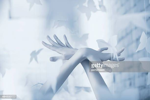 beautiful woman hands and paper butterflies - animal body part stock pictures, royalty-free photos & images