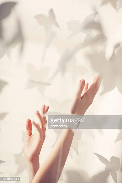 Beautiful woman hands and paper butterflies