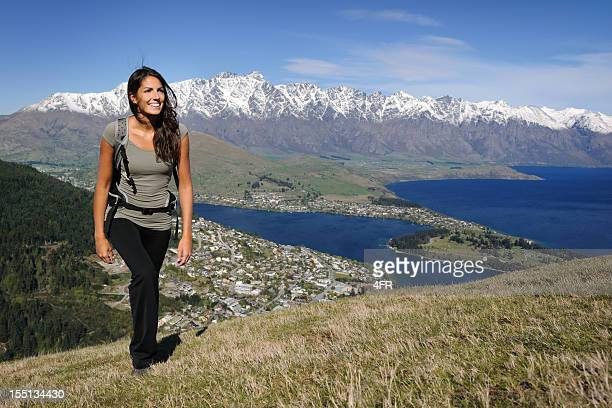beautiful woman hiking (xxxl) - queenstown stock pictures, royalty-free photos & images