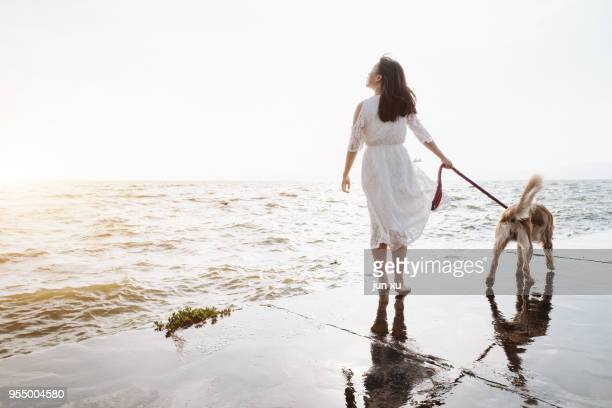 beautiful woman holding a dog on the beach - yunnan province stock pictures, royalty-free photos & images