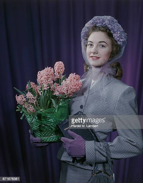 beautiful woman holding holy bible and bouquet  - {{relatedsearchurl(carousel.phrase)}} stock pictures, royalty-free photos & images