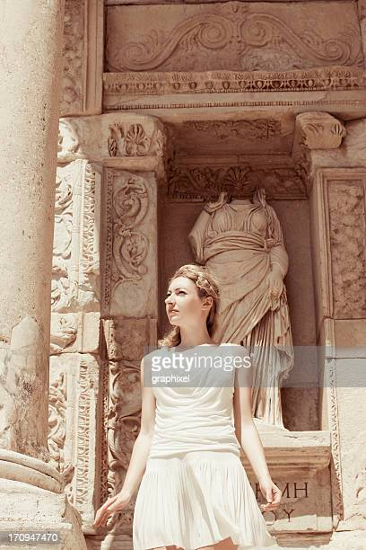 beautiful woman in ancient city - ephesus stock pictures, royalty-free photos & images