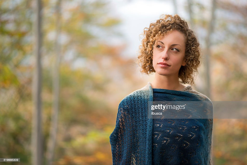 Beautiful woman in autumn forest : Stock Photo