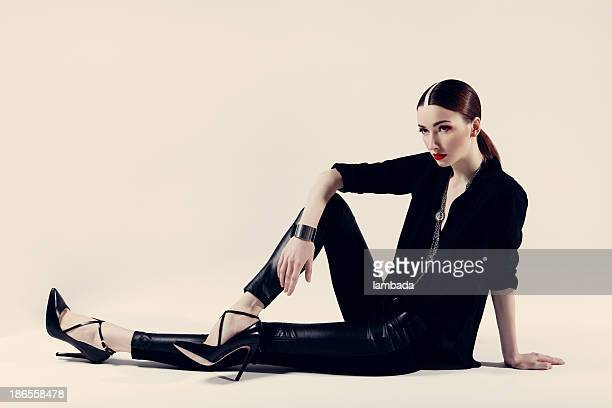 beautiful woman in fashionable clothes - leather shoe stock pictures, royalty-free photos & images