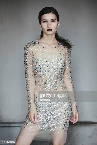 Beautiful woman in fashionable dress