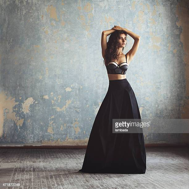 beautiful woman in fashionable gown - evening gown stock photos and pictures