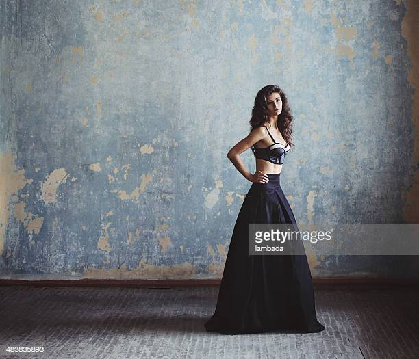 beautiful woman in fashionable gown - black skirt stock pictures, royalty-free photos & images