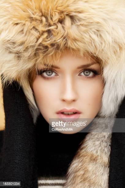 Beautiful woman in  fur hat