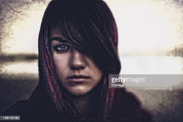 beautiful woman in headscarf - muslim woman darkness stock photos and pictures