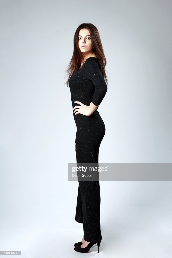 beautiful woman in long black dress : Stock Photo