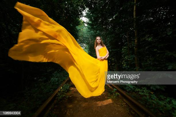 beautiful woman in nature  in long dress - vestido amarillo fotografías e imágenes de stock
