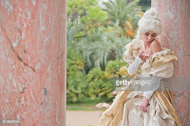beautiful woman in old french costumes - marie antoinette stock pictures, royalty-free photos & images