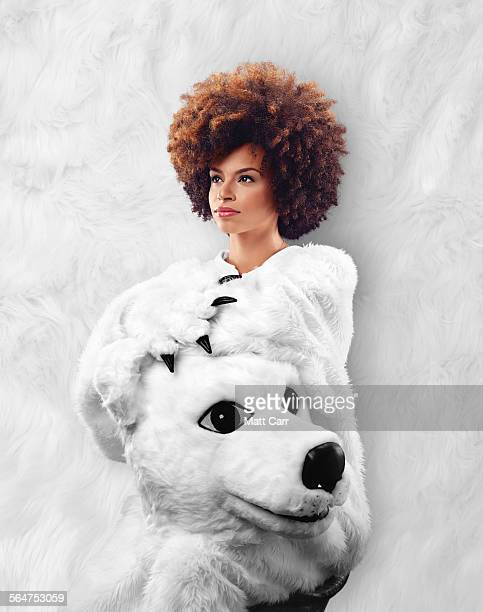 Beautiful woman in Polar Bear suit