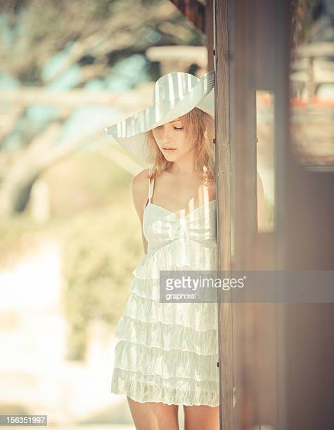 beautiful woman in summer dress - graphixel stock pictures, royalty-free photos & images