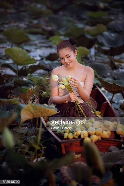 Beautiful woman in Thai Traditional suit