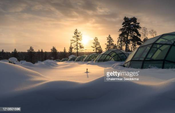 beautiful woman in the glass igloo, finland - igloo stock pictures, royalty-free photos & images
