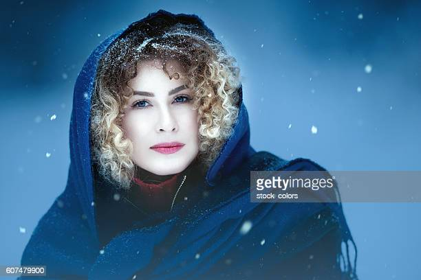 beautiful woman in the winter