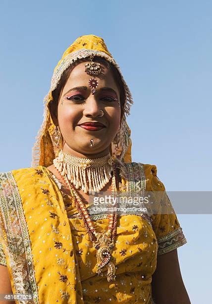 Beautiful woman in traditional Rajasthani dress Jaipur Rajasthan India