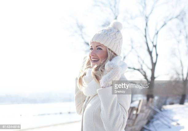 Beautiful woman in winter clothing
