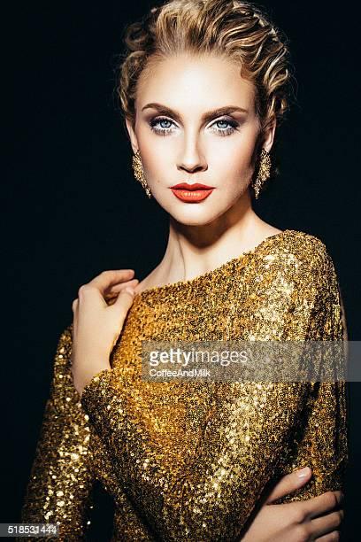 Beautiful woman in yellow dress
