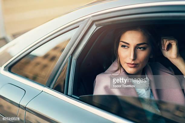 Beautiful Woman Inside Of A Car