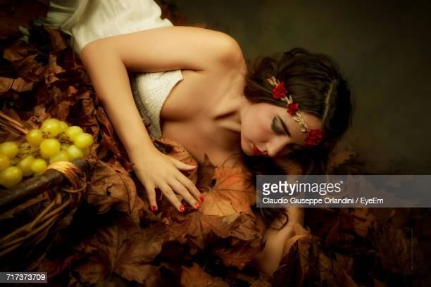Beautiful Woman Lying By Dry Leaves