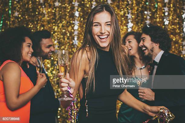 beautiful woman on a formal party - new year - fotografias e filmes do acervo