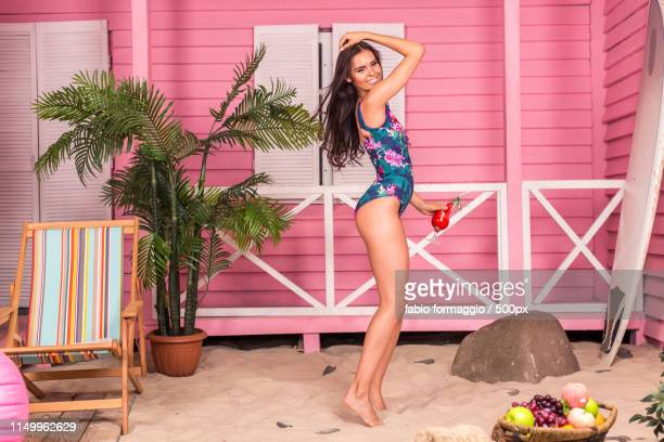 beautiful woman on a tropical beach - topless bikini models stock pictures, royalty-free photos & images