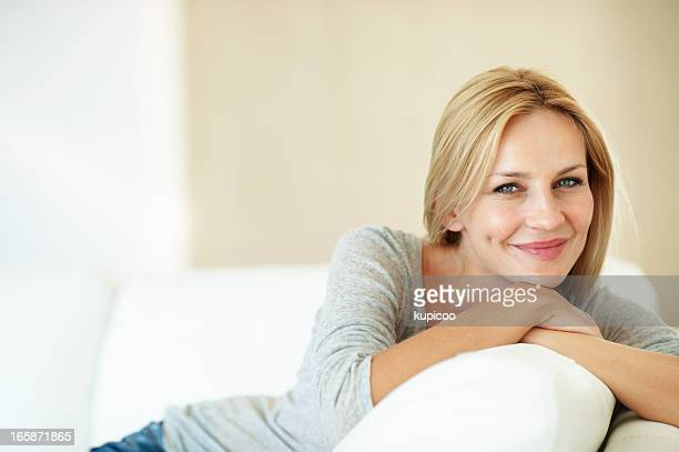 Beautiful woman on couch