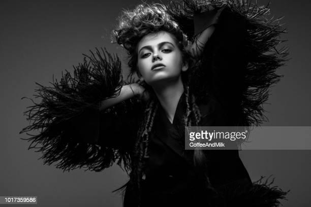 Beautiful woman on dark background