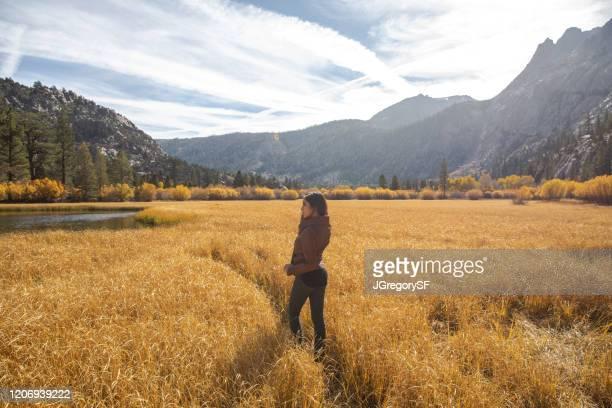 schöne frau auf wanderung im juni seewiese im herbst mit herbst farbe bäume und hohe gras - berge hintergrund - camel active stock-fotos und bilder